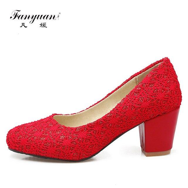 Fanyuan Sexy Lace Mesh Women Pump Shoes Chunky Heels Elegant Dress Bridal  Shoes Round Toe Slip-On Red Shoes Ladies High Heels ed1b21efb25d