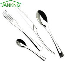 JANKNG 24Pcs/Lot Stainless Steel Steak Knife Spoon Fork Flatware Set Sliver Western Polishing Dinnerware Set Tableware Set
