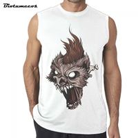 Fanshion Brand The Monster Head Long Claws Gyms Tank Tops Bodybuilding Tank Top Men Fitness Sleeveless