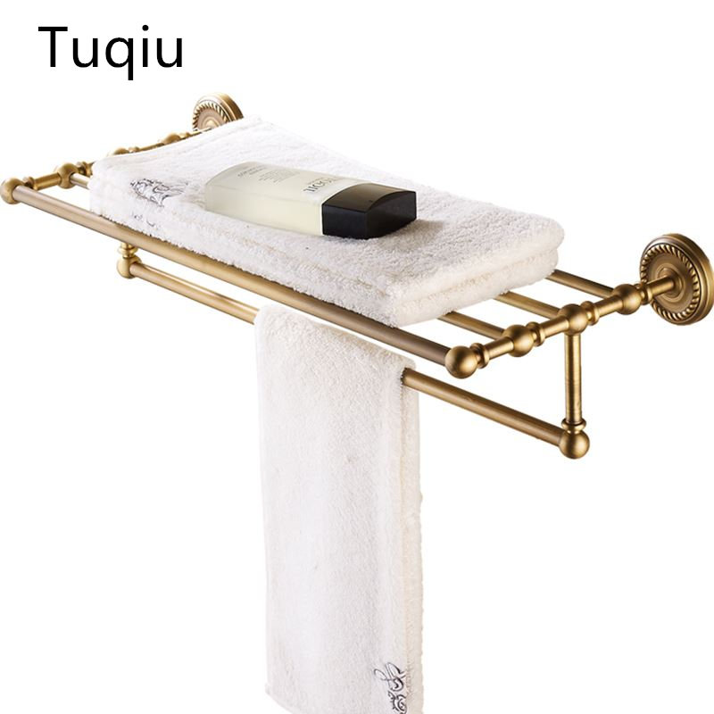 High Quality Antique Bronze Fixed Bath Towel Holder Towel Rack Holder for Hotel or Home Bathroom Storage Rack Rail Shelf modern chrome fixed bath towel holder with hooks stainless steel towel rack holder for hotel or home bathroom storage rack shelf