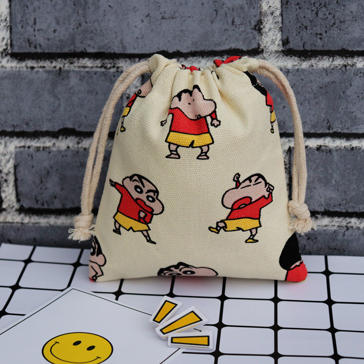 IVYYE 14 Or 17CM Crayon Shin-chan  Cartoon Drawstring Bags Canvas Storage Handbags Makeup Bag Coin Bundle Pocket Purse NEW