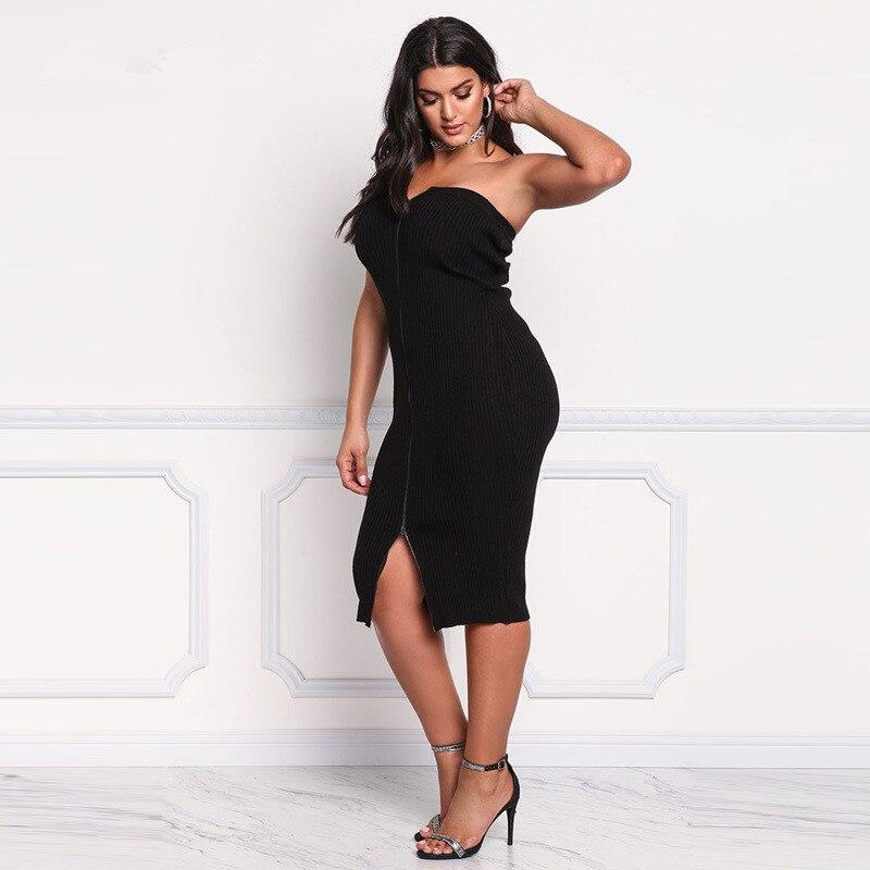 Summer Sexy Women Sleeveless Bodycon Dress Split Zipper Party