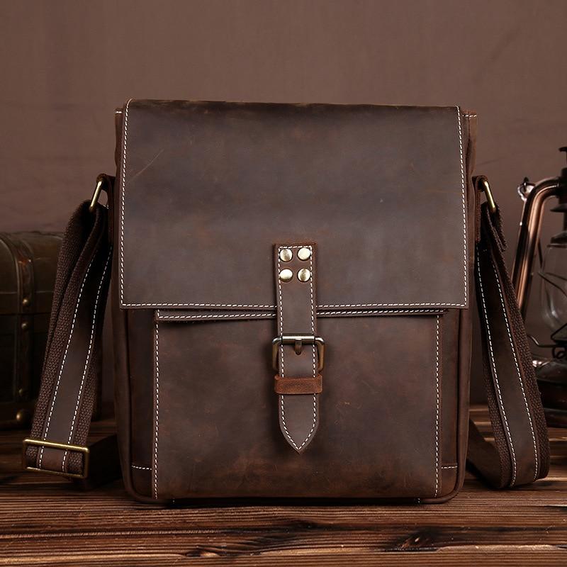 YISHEN Casual Vintage Men Messenger Bags Crazy Horse Genuine Leather Men Crossbody Bags Shoulder Bags Leisure Travel Bags LS0242