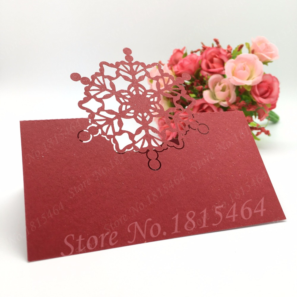 50pcs Snowflakes Wine Glass Card for Wedding Laser Cutting Paper ...