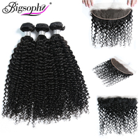 Bigsophy Hair Kinky Curly Wave100% Remy Human Hair Extension Malaysian Weave Hair Bundle 3Bundles Hair And 13*4 Frontal Closure