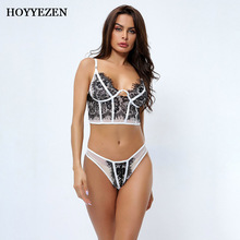 Hoyyezen sexy woman lingerie lace stitching transparent bra pink underwear see through bra set see through lace lingerie set