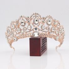 ФОТО rose gold crystal bridal tiara bride queen king crown for women corona diadema hair ornaments wedding hair jewelry accessories