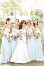 A Line Chiffon Sweetheart Long Bridesmaid Dress Pleated Sky Blue Bridesmaid Gown