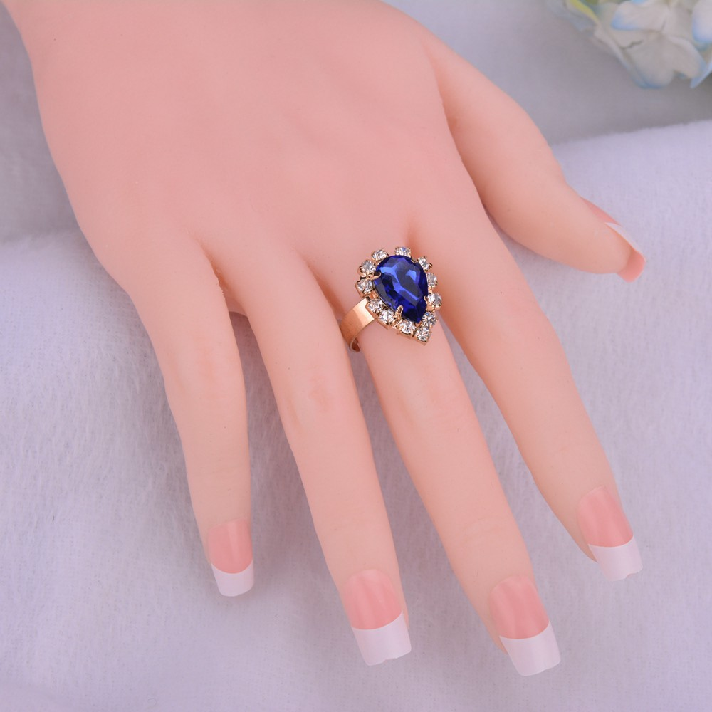 Fashion Blue Crystal Stone Wedding Jewelry Sets For Brides Golden ...