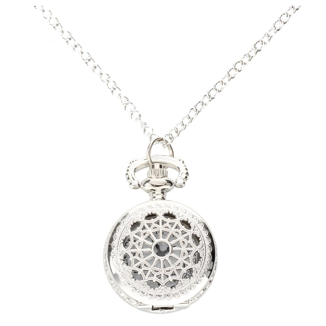 Men Women Pocket Watch Quartz Silver Alloy Pendant Necklace Pocket Deco