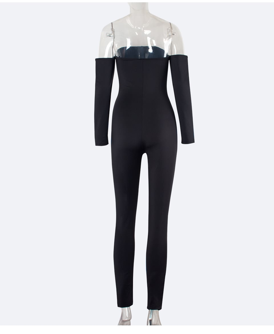 Tracksuit Women Fashion Slash Neck Bodycon Jumpsuit Rompers Long-sleeve Skinny Bodysuit Black Party Jumpsuit Sexy Club Overalls