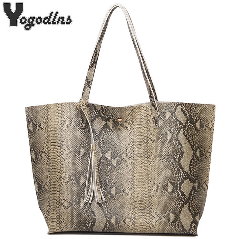 Female Leather Bags Fashion Snake Pattern Tote Bag Top Quality Leather Handbags Big Size Casual Clutch Shoulder Bag High Quality plus size cold shoulder rose pattern top