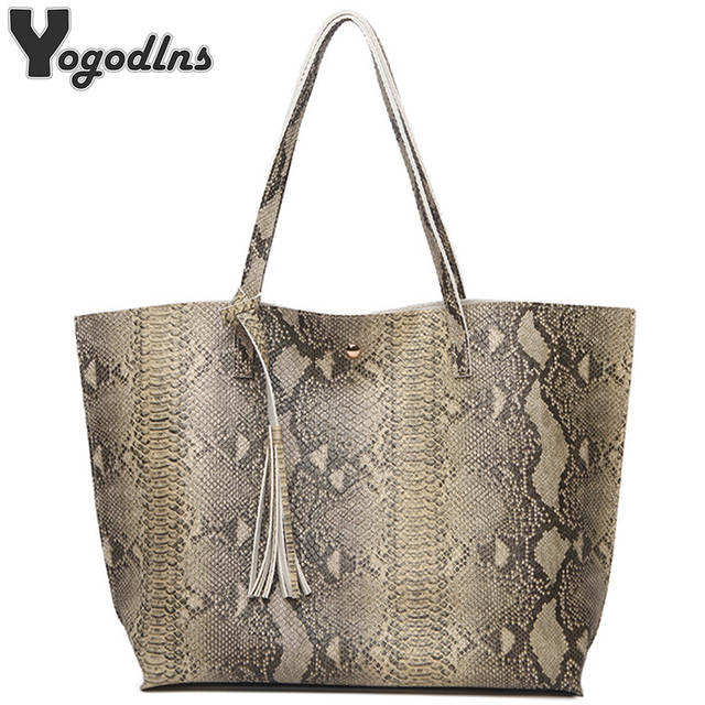 Female Leather Bags Fashion Snake Pattern Tote Bag Top Quality Leather  Handbags Big Size Casual Clutch 9cda440dc35a6