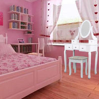 (Ship from EU) Home White Dressing Table With Mirror and Stool Make up Dresser Set for Women