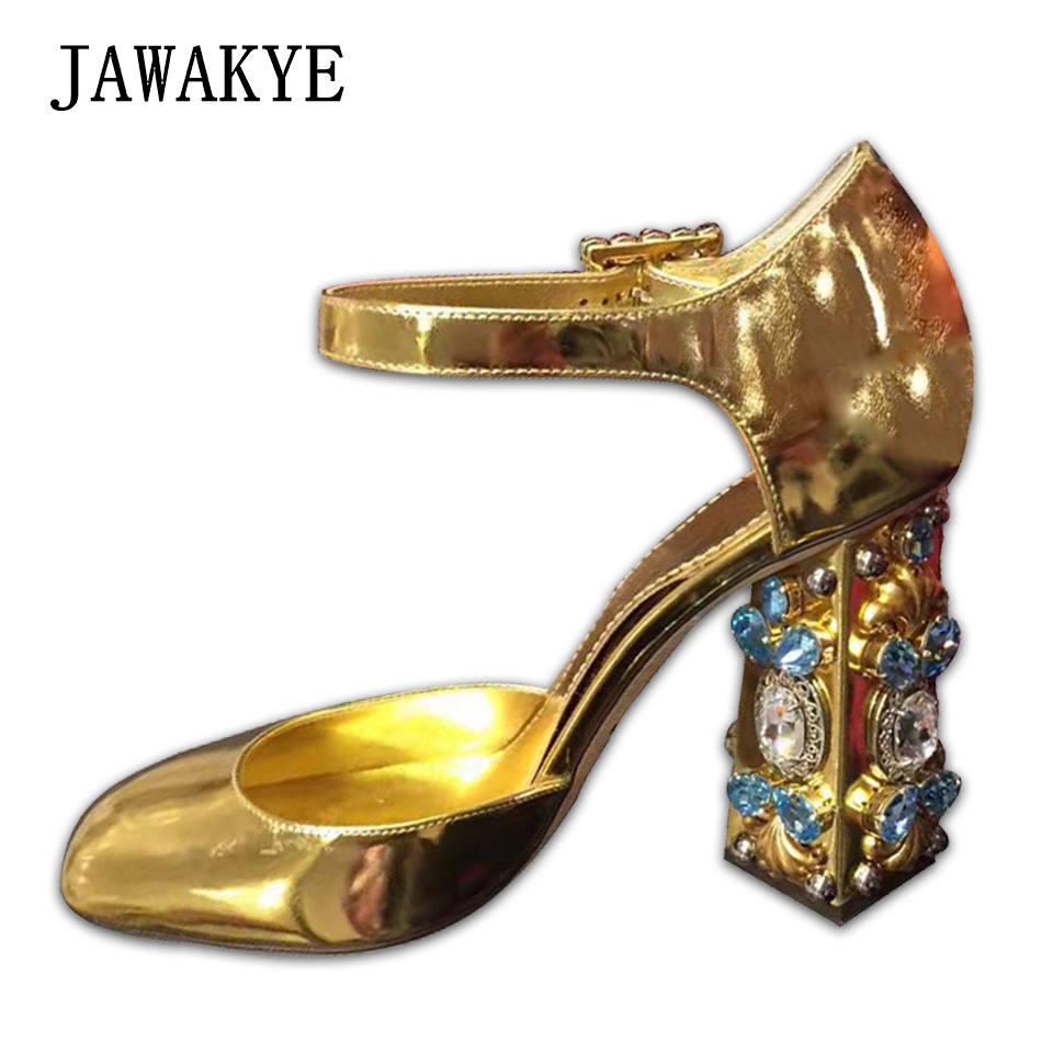 Jawakye 라인 석 chunky heels 샌들 여성 jeweled 하이힐 펌프 버클 골드 실버 미러 파티 신발 여성 zapatos mujer-에서여성용 펌프부터 신발 의  그룹 1