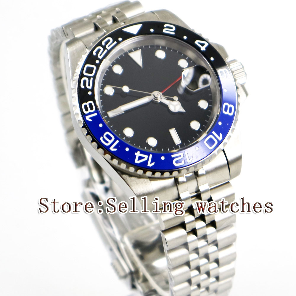 40mm Parnis Black Sterile Dial Blue black Ceramic Bezel Jubilee Style Strap Red GMT date window automatic mens watch цена и фото