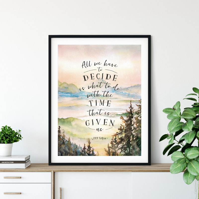 Movie Poster Art-Painting Watercolor Tolkien Lord-Of-The-Rings Canvas Print Inspirational Quotes
