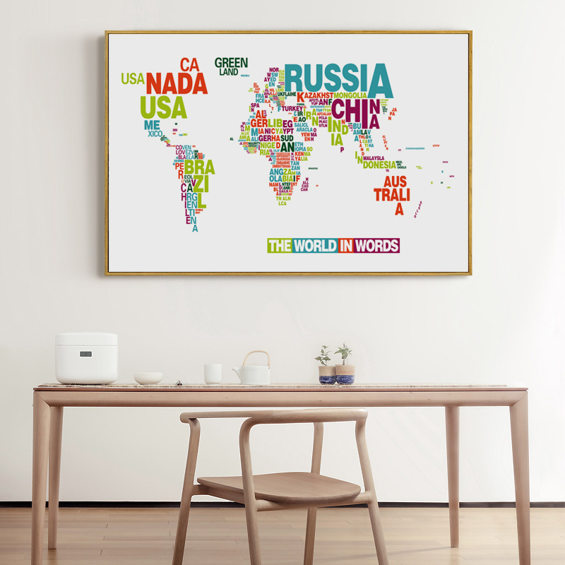 Bianche wall english alphabet world map modern decoration canvas bianche wall english alphabet world map modern decoration canvas painting art print poster picture paintings home wall decor in painting calligraphy from gumiabroncs Image collections