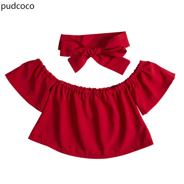 d270ec4c1281 Cute Kids Baby Girl Clothes Off Shoulder Tops+Headband Outfits Black Red  Purple Green Summer Ruffles T shirts Children Clothing