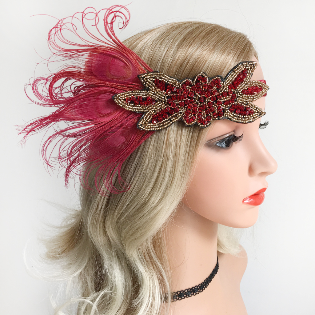 Ladies Women Retro Wine Red Feather Flapper Headband Roaring 20s Headpiece 1920s Cosplay Costume Hairband