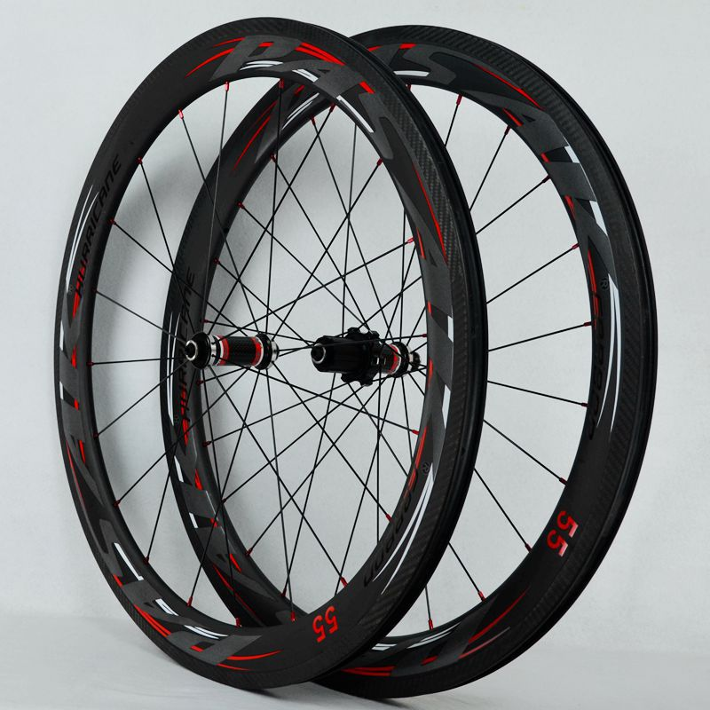 2018 PASAK Carbon fiber road bike bicycle full carbon wheels C/V brake 40/55 rim wheelset clincher wheel 700cc wheels disc brake wheels road bicycle v c brake 30mm alloy rim 29inch cross country road bike silver frame light wheel