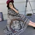 Cotton Twill Scarves Sun Shawl Indian Tiger Wild Personality Sunscreen Summer Chiffon Shawl And Wrap Beach Towel