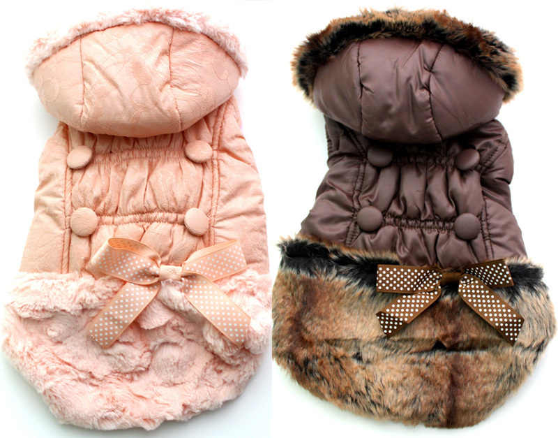 Dog Pet warm Coat Jacket Cat Puppy Hoody Winter clothes bow&buttons disign 7 sizes 2 colours