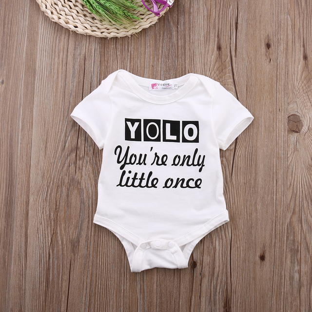 aaaf186499fc Newborn Kids Baby Boy Girls Clothes Infant Quote Bodysuit Short Sleeve  Bebes Body Playsuit Outfit Clothes