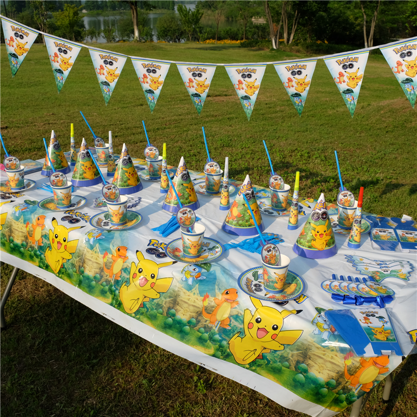 Cartoon Pokemon Go Pikachu Kids Birthday Party Decoration Set Party Supplies Baby Birthday Pack Event Party Supplies AW-1660