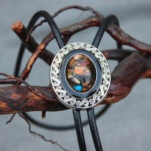 Image 1 - Original designer bolotie alloy collet colorful stone bolo tie for men personality neck tie fashion accessory