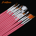 15/7Pcs /set Nail Art Polish Painting Draw Pen Brush Tips Tools Set UV Gel Cosmetic Nail tools pinceis nail brush  nail makeup