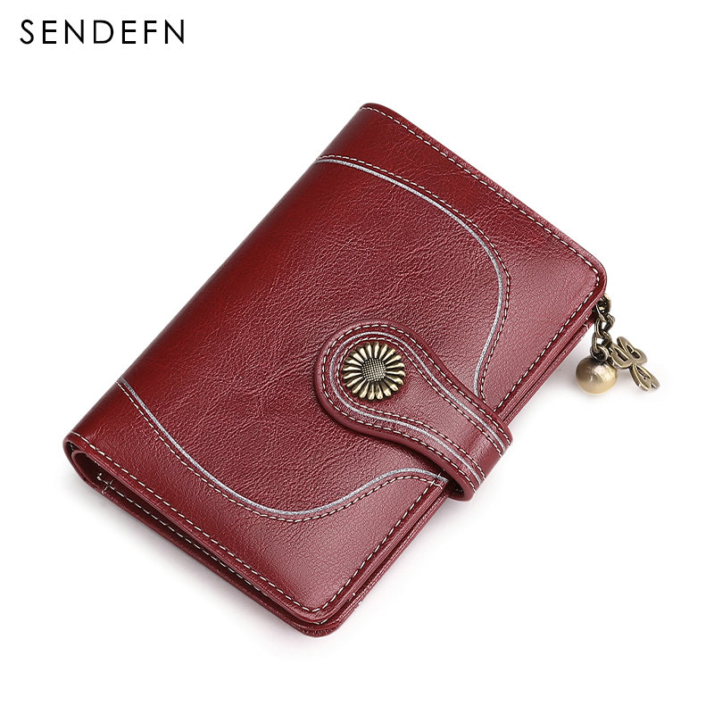 New Style Fashion Split Leather Clutch Wallet Women Small Card Holder Coin Purse Zipper Short Wallet Female Flower Hardware