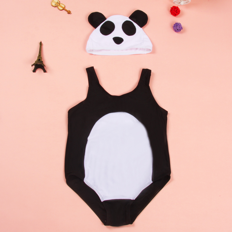 Girl One Piece Swimwear Baby Bathing Suit with a Cartoon Swimming cap Kids Imitating Panda Swimsuit  for Girls about 2-7 Years one piece little girl mermaid bow halter swimsuit baby kids girls sequins summer swimwear headband bikini set bathing suit