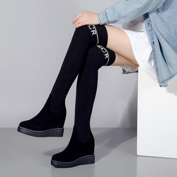 D'hiver De Haute Wedge Chaussures Bottes {zorssar} Le En Mode 2019 Daim Noir Sur Femmes Talons Enfant Genou Stretch E06wwfqaxp