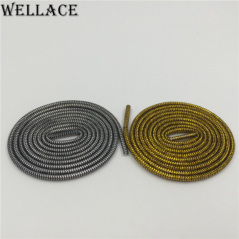 (30 pairs/Lot) Wellace Round type Metallic Glitter Shoelaces DHL FREE SHIPPING Shoe Laces String for Sneaker sport shoes