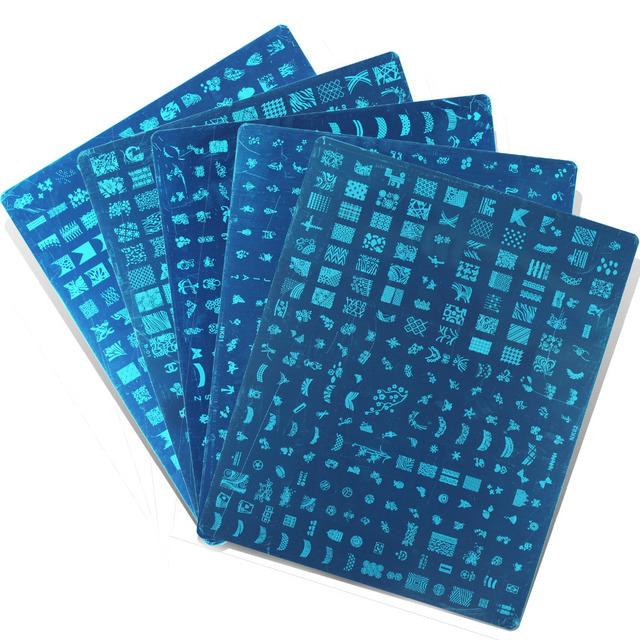 31.4 cm x 25.5 cm esmalte de uñas placas estampación manicura imagen del arte DIY plantillas imagen de acero inoxidable de las placas de 5 diseños