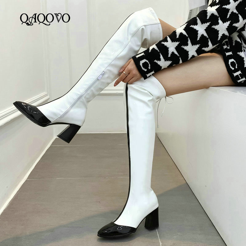 2019 Autumn Winter Women Over The Knee Boots Fashion Zipper Thigh Boots Ladies Square Heel Pointed Toe Shoes Women White Red