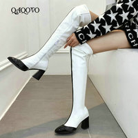 2020 Autumn Winter Women Over The Knee Boots Fashion Zipper Thigh Boots Ladies Square Heel Pointed Toe Shoes Women White Red