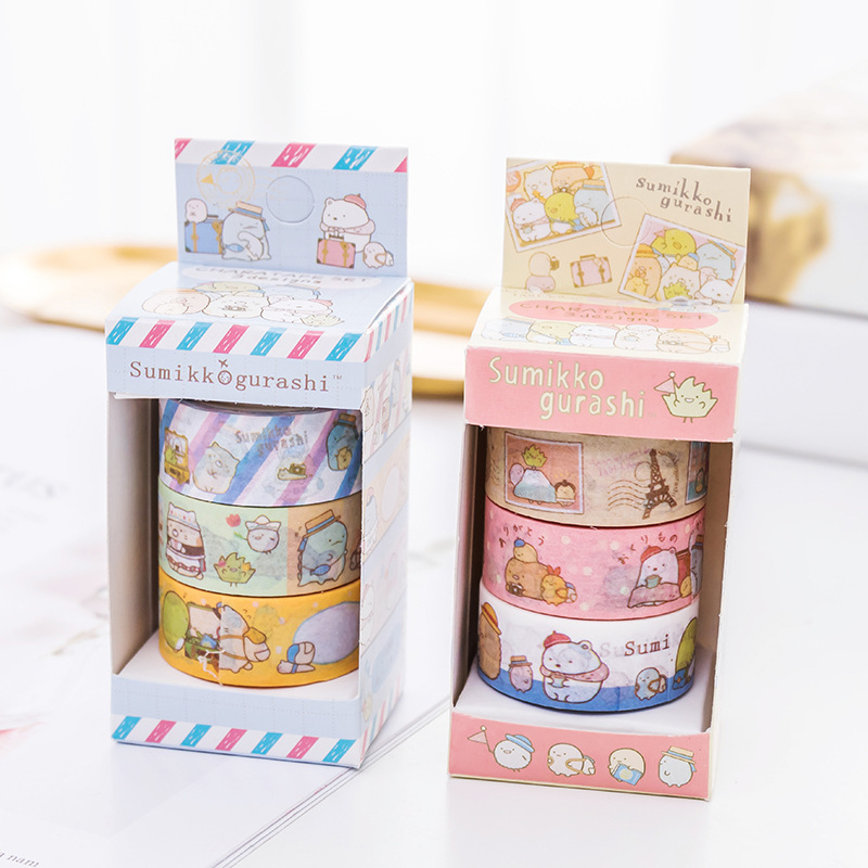 Cute Kawaii Cartoon Sumikko Gurashi Masking Washi Tape Decorative Adhesive Tape Decora Diy Scrapbooking Sticker Label Stationery infeel blue girl washi tape diy decorative scrapbooking planner masking label sticker stationery school supplies