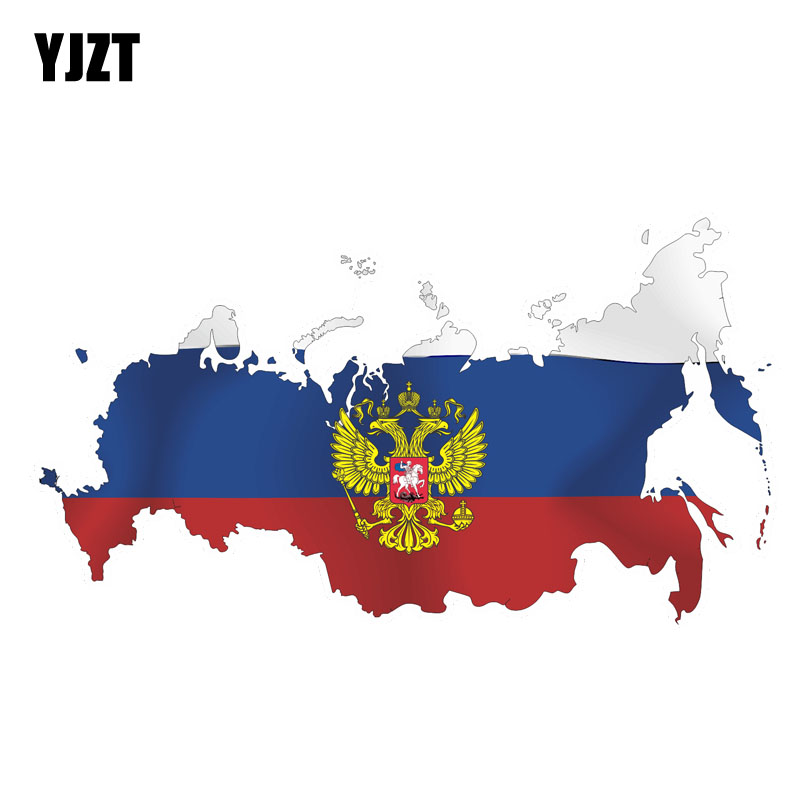 YJZT 15CM*8.4CM Accessoreis Funny Car Sticker PVC Reflective Russian Flag Map Decal 6-0162