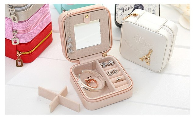 Travel Jewelry Box Small Makeup Organizer PU Mirror Zipper Jewellery