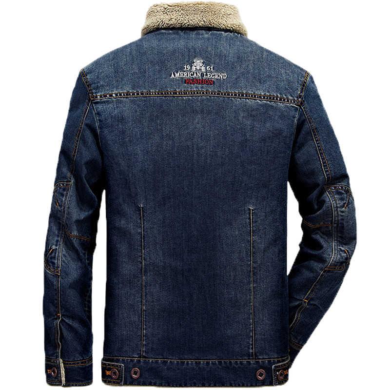 Брендовые джинсовые куртки для мужчин зимняя теплая куртка-бомбер джинсовая куртка для мужчин плюс размер 4XL Толстая теплая ковбойская ветровка Мужская Jaqueta masculina