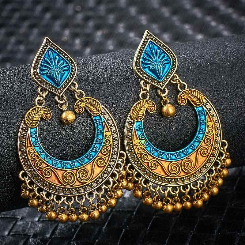 SHUANGR Vintage Ethnic Jewelry Indian Jhumka Small Bell Tassel Earrings Antique Ethnic Multi Color Drop Earrings Brincos Jewelry