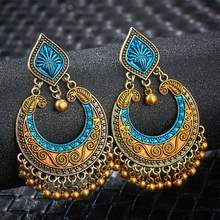 SHUANGR Vintage Ethnic Jewelry Indian Jhumka Small Bell Tassel Earrings Antique Ethnic Multi Color Drop Earrings Brincos Jewelry(China)