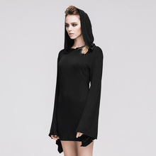 2016 Steampunk Gothic Splicing Long-sleeved Dress Hooded Women Cultivate One's Morality Show Thin Pure Colour Black Women Dress