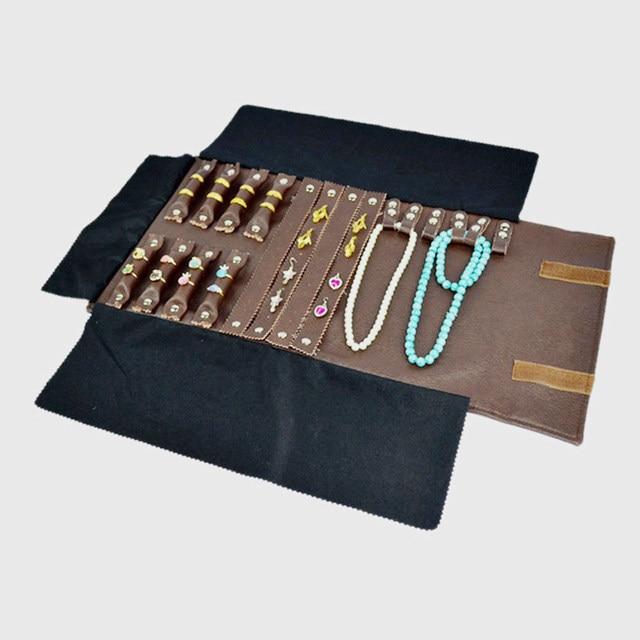 Online Shop Brown Leatherette Trifold Ring Earring Bracelet Necklace
