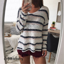 84ae11c9 HIRIGIN Newest Womens Ladies Long Sleeve V Neck Loose Striped Tee Casual  knitted Autumn Sweet Tops