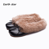 EARTH STAR Casual White Shoes Women Fashion Brand Flats Lady chaussure 2018 Autumn Female Silp On with Fur Black Mules Slippers