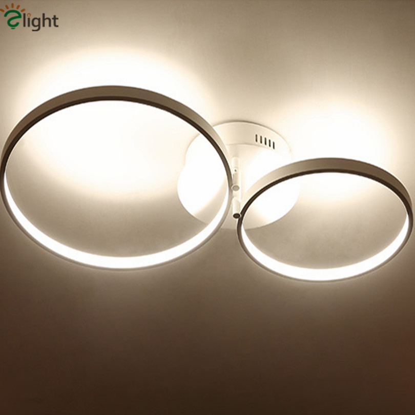 Post Modern Dimmable Minimalism Aluminium Circle Led Chandelier Rotatable Rings Acrylic Led Ceiling Chandelier