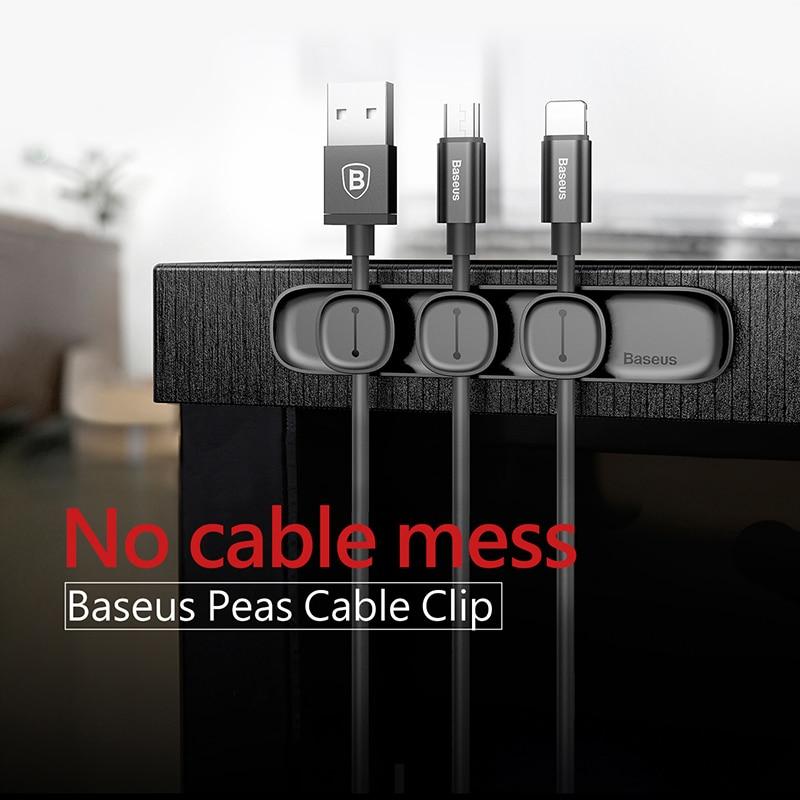 Baseus Durable Magnetic Cable Clip USB Cable Organizer Clamp Desktop Workstation Wire Cord Management Cable Winder